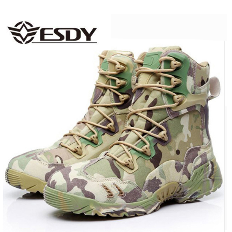 Men Tactical Amry Boots Camouflage Military Mens Safety Shoes High Top Breathable Desert Footwear Men s