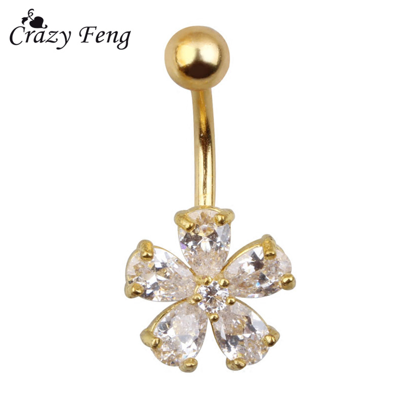Women Flower Belly Button Rings Piercing Navel Piercing Rings Boho Jewelry Gold Color Crystal Cz Pendant Sexy Body Art Jewelry Body Jewelry Navel Button Ringpiercing Navel Aliexpress