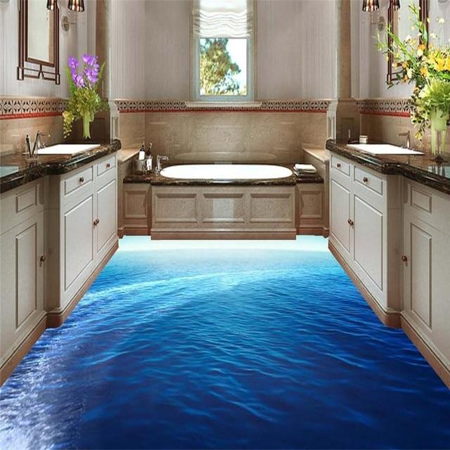 Hochwertig Moderne Boden Malerei HD Blue Sea Grenzenlose Landschaft Wasserdichte Bad Küche  PVC Wand Papier Selbst Wandaufkleber