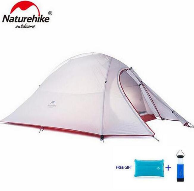 Naturehike Tent 20D Silicone Fabric Ultralight 2 Person Double Layers Aluminum Rod Camping Tent 4 Season With Mat naturehike 2 person tent ultralight 20d silicone fabric tents double layer aluminum rod camping tent outdoor tent 4 season