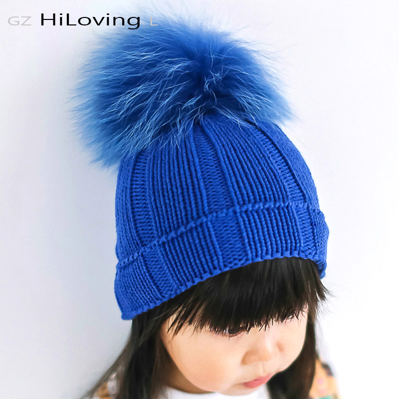 2016 Winter Big Fur Pompom Fur Ball Beanies Hats Baby Girls Boys 9 - Klær tilbehør