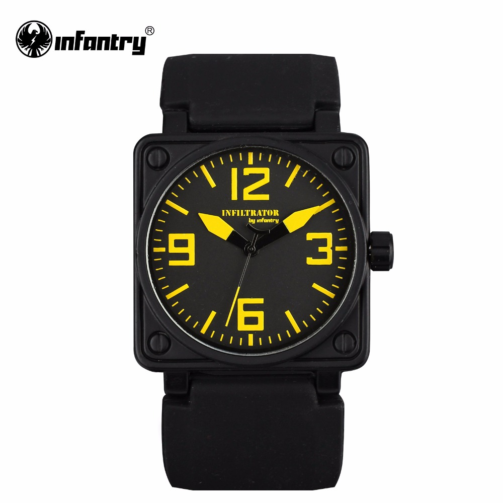 Infantry mens watches square face hot sale military army quartz watch black rubber strap sports for Rubber watches