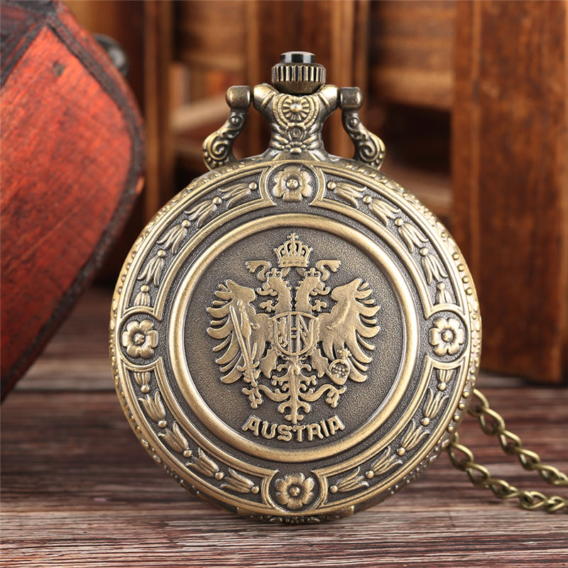YISUYA Russian National Emblem Pocket Watch Quartz Vintage Double-headed Eagle Watch Neckalce Chain Unique Gift Relogio De Bolso
