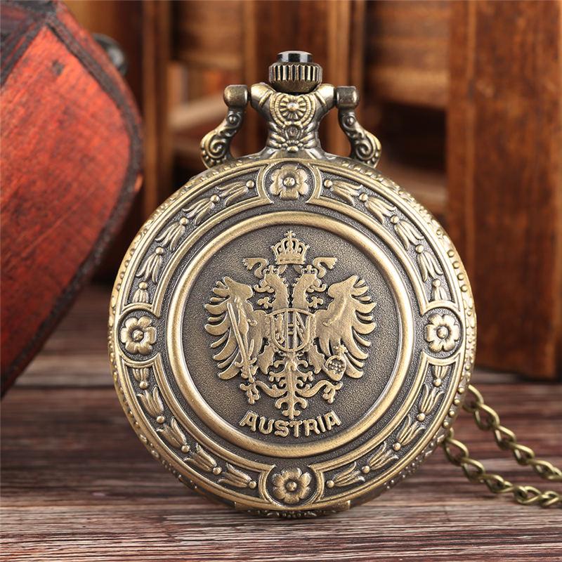 YISUYA Russian National Emblem Pocket Watch Quartz Vintage Double-headed Eagle Watch Neckalce Chain Unique Gift Relogio De Bolso