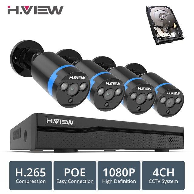 H. VIEW 4ch 1080 p CCTV Камера Системы PoE H.265 CCTV Камера Системы 2mp комплект видеонаблюдения PoE 48 V наблюдения комплект Full HD