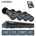H. VIEW 4ch 1080 p CCTV Camera System PoE H.265 CCTV Camera Systeem 2mp Surveillance Kit PoE 48 V Surveillance Kit full HD