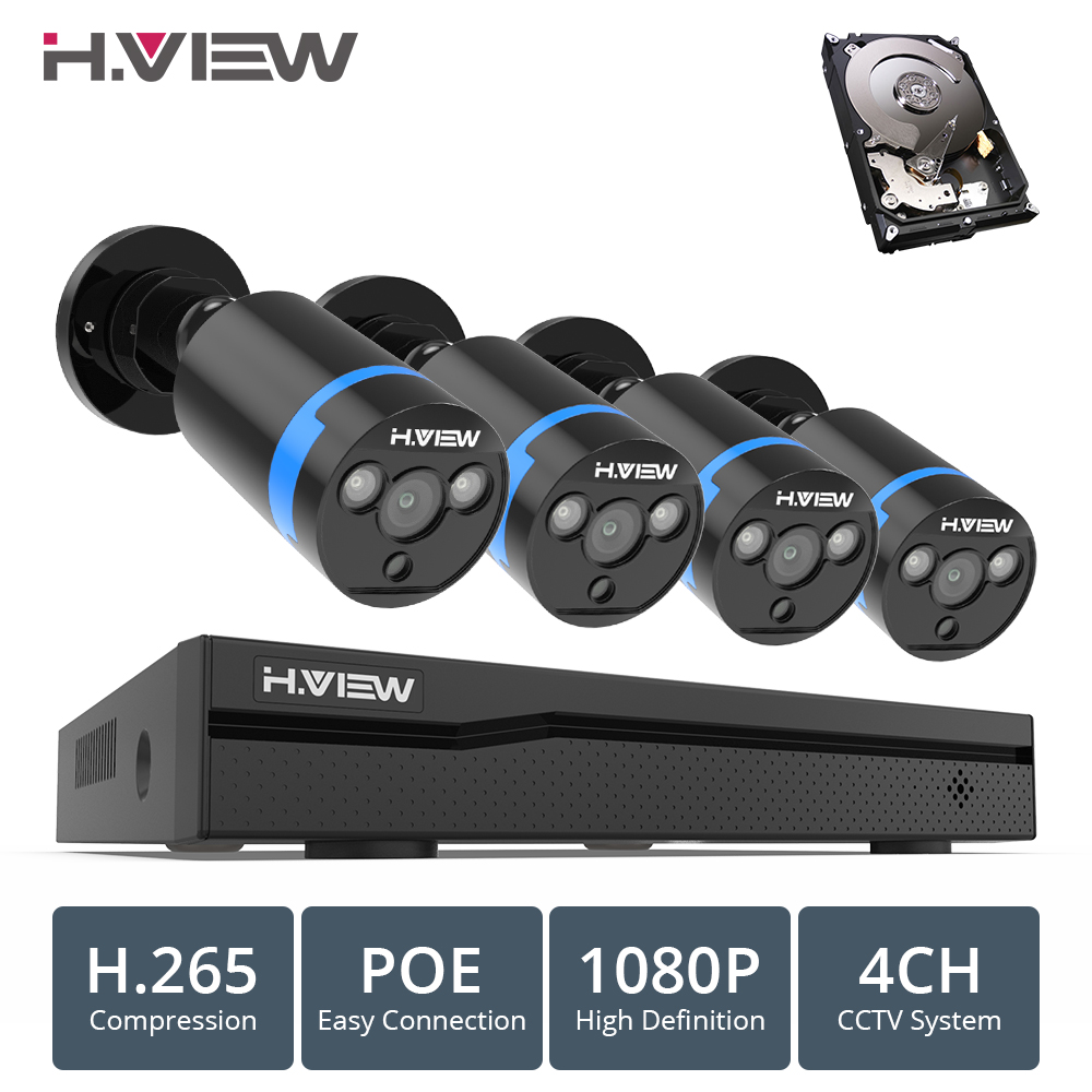 H. VIEW 4ch 1080 p CCTV Sistema di Telecamere PoE H.265 CCTV Sistema di Telecamere 2mp Kit di Sorveglianza PoE 48 v Kit di Sorveglianza full HD