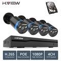 H ver 4ch 1080 p sistema de cámara CCTV PoE H.265 sistema de cámara CCTV 2mp Kit de vigilancia PoE 48 V Kit de vigilancia full HD