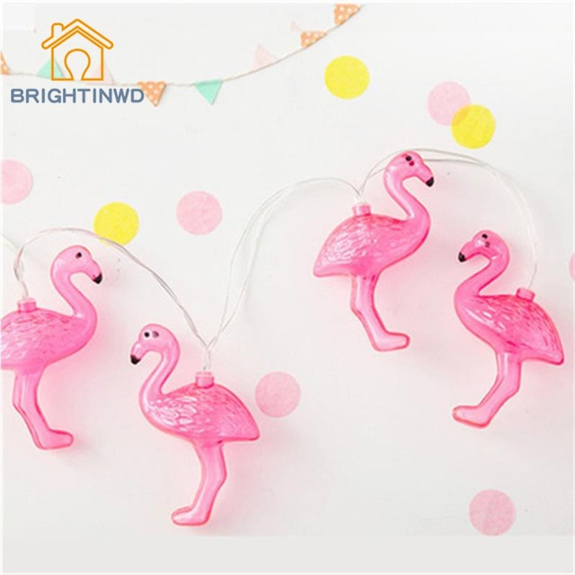Flamingo Lights 10 LED String Light Fairy Party Wedding Home Decorative AA Battery Box Girl Room Layout Decoration Patio Lantern