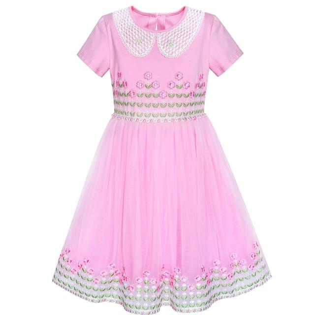 Flower Girl Dress White Collar Pink Lace Short Sleeve Birthday