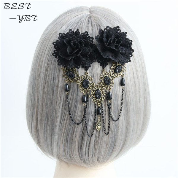 Para Cabelo Vintage Gothic Black Lace Flower Headband Hair Clips For Women Stone Tassels Fashion Jewelry Acessories