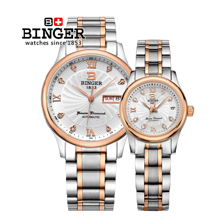 Genuine Binger watches for men and women couple wristwatch diver 30 meters waterproof stainless steel watch