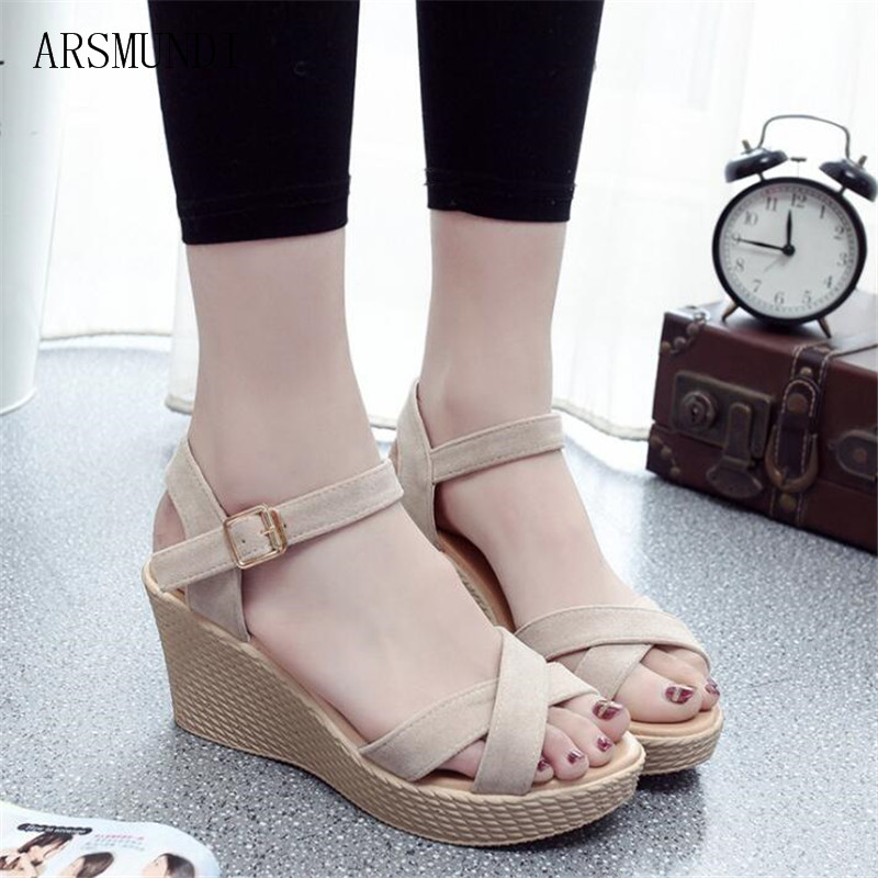 ARSMUNDI Summer Buckle Women 39 s Sandals Fish Mouth Fashion high Heel Platform Open Toes Women Sandals Shoes Drop Shipping M414 in Middle Heels from Shoes