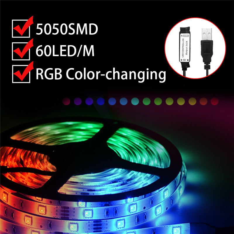 Smuxi USB LED Strip 5050 RGB Flexible Light 1/2/3/4/5M TV Background Lighting RGB LED Strip IP67 Waterproof With Controller
