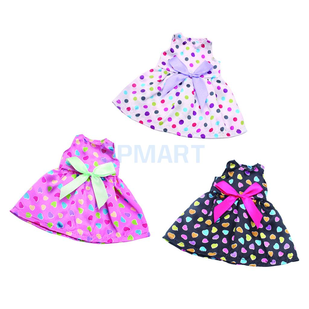 3pcs Doll Spotted Dress Clothes for 14 Inch American Girl Doll Our Generation Doll Dress Skirt Shoes Outfits Costume glitter doll shoes star dress shoe for 18 inch our generation american girl doll