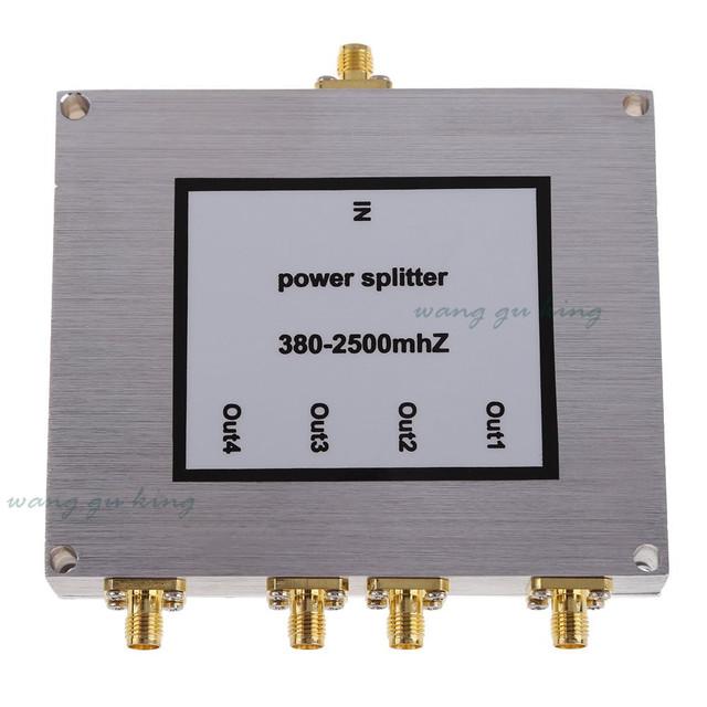 Novo 380 ~ 2500 MHz 4-way SMA Power Divisor/Splitter Para O telefone Móvel impulsionador repetidor wi-fi Para Reforço De Sinal repetidor