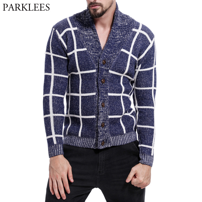 Men's Classic Plaid Cardigan Sweaters Men 2018 New Brand Hit Color Patchwork Knit Sweater Mens Casual Slim Fit V Neck Pull Homme