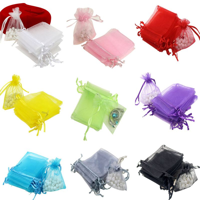 Small Wedding Gift Bags: 100pcs/lot Drawable White Small Organzer Bags Favor
