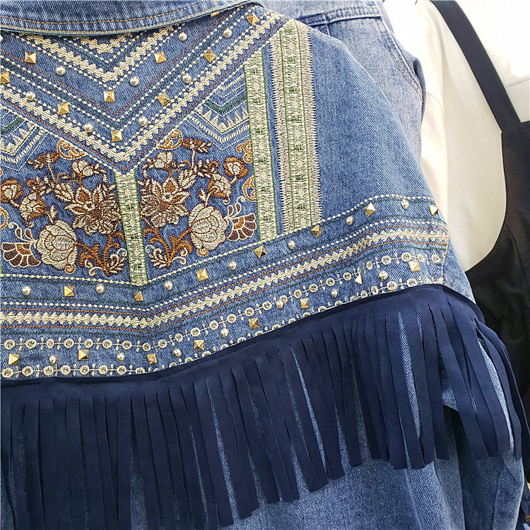 2020 Spring Womans Jeans Jacket Retro Embroidery Rivet Tassel Denim Coat Outwear Female Loose Casual Cowboy Jackets Basic Coats