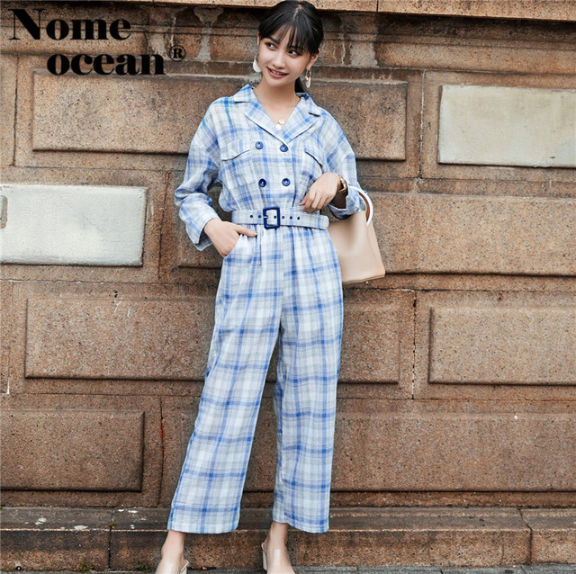 7e4aa44a1f5 Fashion Women s Jumpsuits Plaid Check Linen Wide Leg Pants Double Breasted  Button England Jumpsuit Rompers Belted