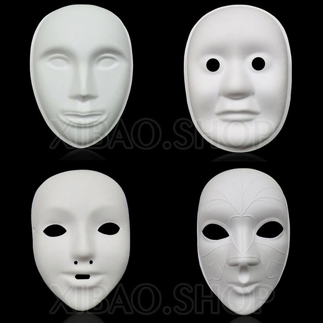 Thicken Unpainted Paper Mache Masks Full Face to Decorate , DIY ...