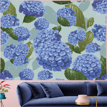 Nordic Style purple Hydrangea macrame goblen Kids room flower lake blue Wall Hanging Vintage Pattern Tapestry hippie home decor
