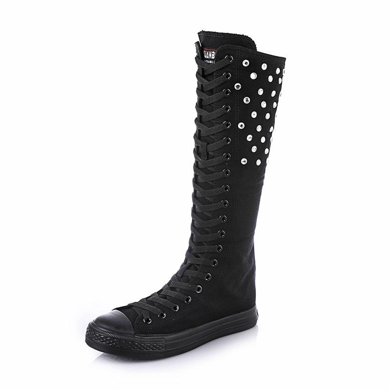 De Botas Superior Arranque Mujeres Bu 2018 Las Lona blanco Lateral Negro Yuanes vino Beige Tinto Cremallera Nuevo Zapatos Cheerleaders Cristal Baile negro Cruz atado 7z4wnSq