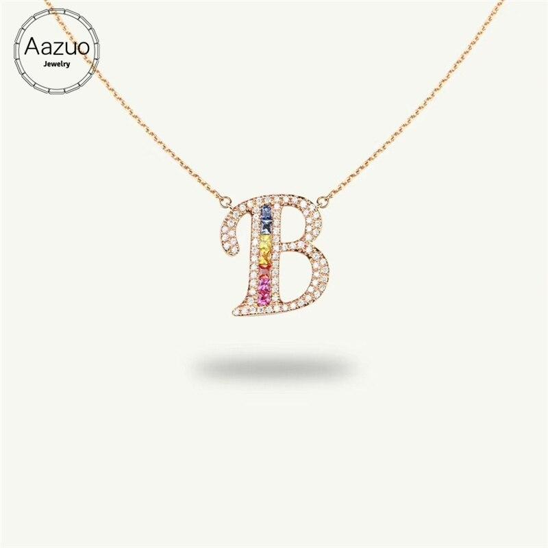 Aazuo 18 K or Rose couleur naturelle pierre gemme véritable diamant Original arc-en-ciel lettre libre collier pendentif doué pour les femmes Au750