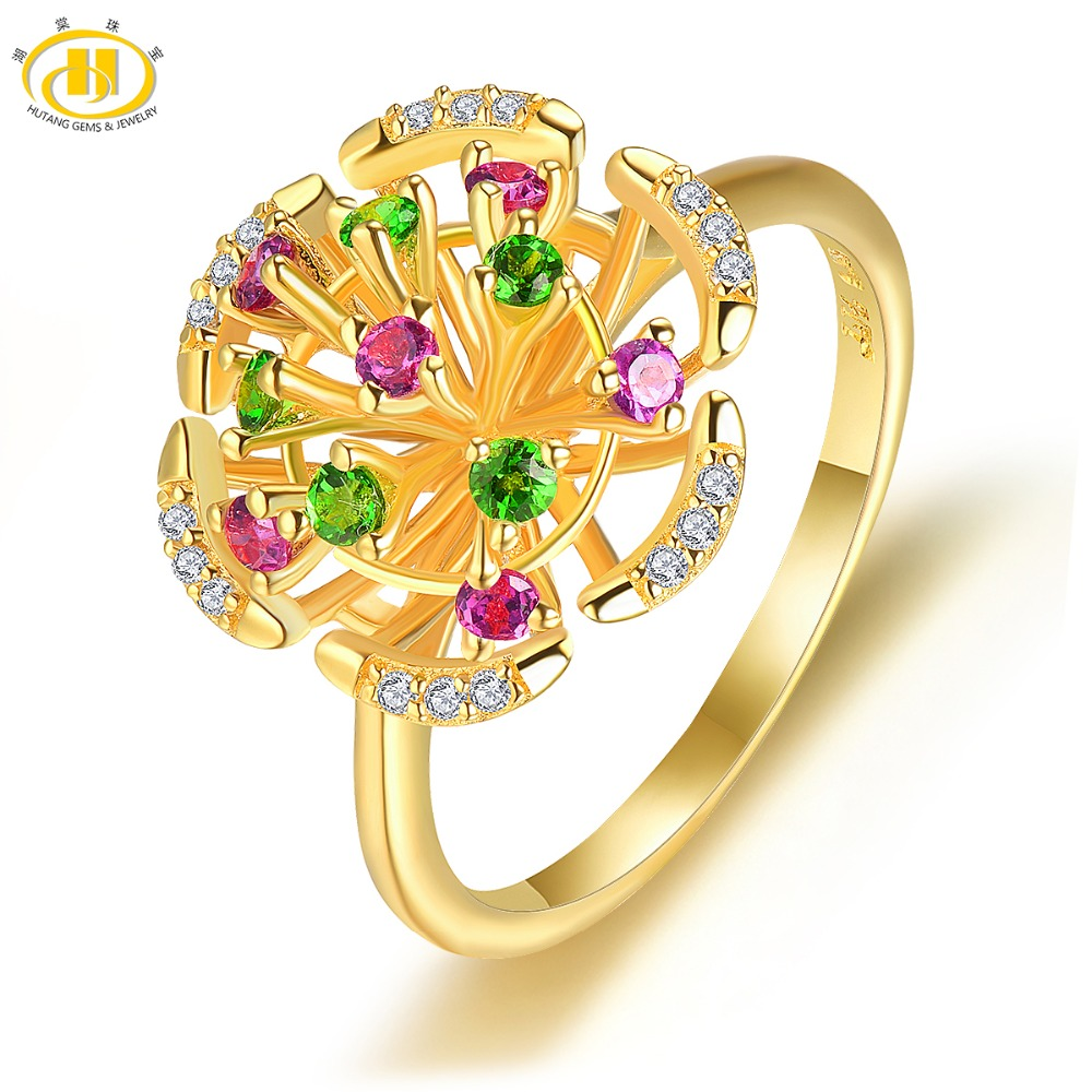 Hutang Natural Gemstone Yellow Gold Silver Flower Ring Solid 925 Sterling Rhodolite Garnet Fine Fashion Stone Jewelry For GiftHutang Natural Gemstone Yellow Gold Silver Flower Ring Solid 925 Sterling Rhodolite Garnet Fine Fashion Stone Jewelry For Gift