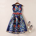 Europe and America Summer Autumn Dress Fashion Elegant Sleeveless Flower Print Long Women Pinup Swing Runway Dresses Vestidos