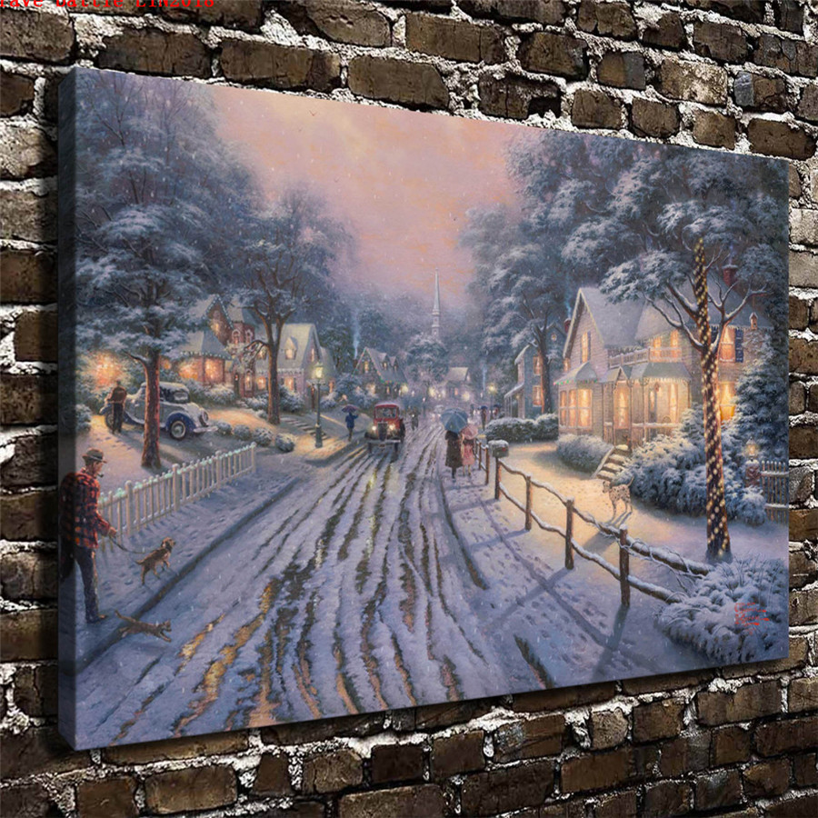 Thomas kinkade hometown christmas memories canvas painting - Home interiors thomas kinkade prints ...