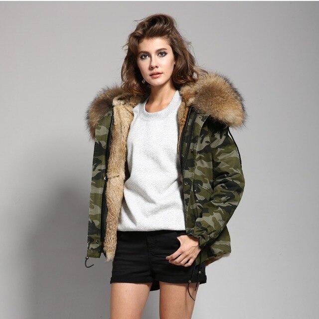 fbc6754300262 2018 Camo Parka Camouflage Coat Jacket With Natural Real Large Raccoon Fur  Collar Hood Womens Parkas Real Rabbit Fur lined coat
