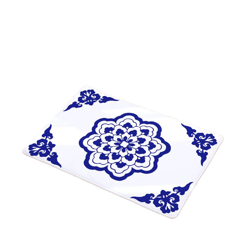 White Kitchen Floor Mats: Blue And White Printed Flannel Floor Mats Anti Slip