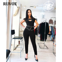 Sexy Jumpsuits for Women 2018 Summer New Bodycon Beading Bodysuit Bandage Rompers Womens Jumpsuit Combinaison Femme Q 27