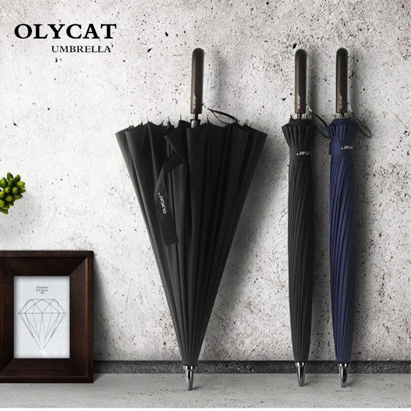 Paraguas de lluvia para mujer grande OLYCAT 24 K a prueba de viento, Paraguas para caminar, Paraguas para hombres, Golf, sol, Paraguas, Parasol, caña