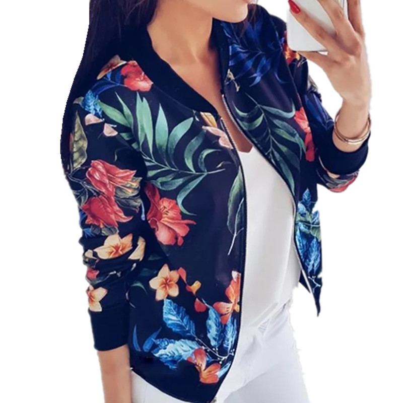 LOSSKY Retro Floral Print Women Coat Casual Zipper Up Bomber Women's Autumn Long Sleeve Outwear Jacket Coats Ladies Clothes 2018