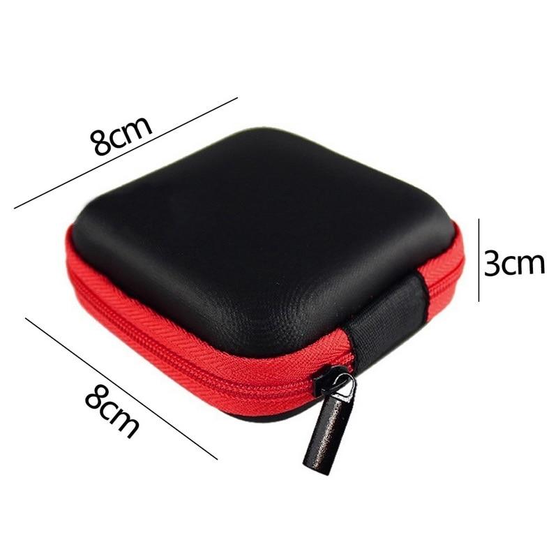Чехол-контейнер для монет, наушников, защитная коробка для хранения, цветные наушники чехол для путешествий, сумка для хранения наушников, кабель для передачи данных, зарядное устройство - Цвет: Red Square 8x8cm