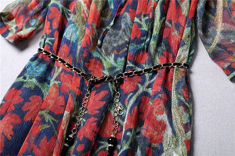 Robes Robe De Printemps Femmes Manches V Vintage Boutique Casual Soie Red Mode Impression Qwert0089 Longues 2018 Qualité D'été Col xqpwFYnS