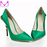 Green Pointed Toe Women Pumps Satin 120mm High Heel Prom Wedding Party Shoes Evening Dress Shoes