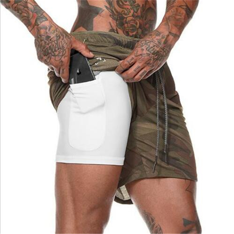 2019 Quick Dry Men Training Running Shorts Active Training Exercise Jogging Shorts With Longer LinerBreathable Materia Sportwear