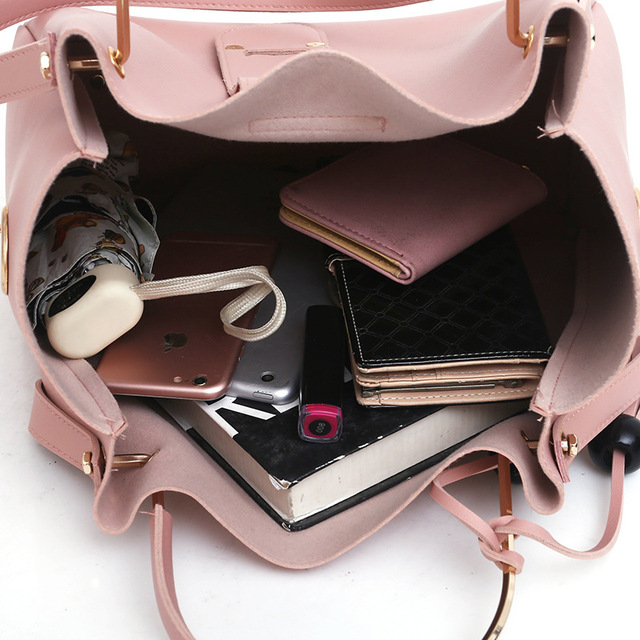 569714d4edb6 3Pcs Sets Women Handbags Leather Shoulder Bags Female Large Capacity Casual  Tote Bag Tassel Bucket Purses And Handbags Sac Femme