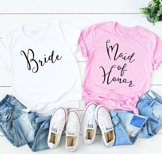Bride maid of honor t-shirt Romantic wedding clothes fashion pretty cotton gift  tees bridesmaid team tops casual quality tshirt ace9f24e5c62