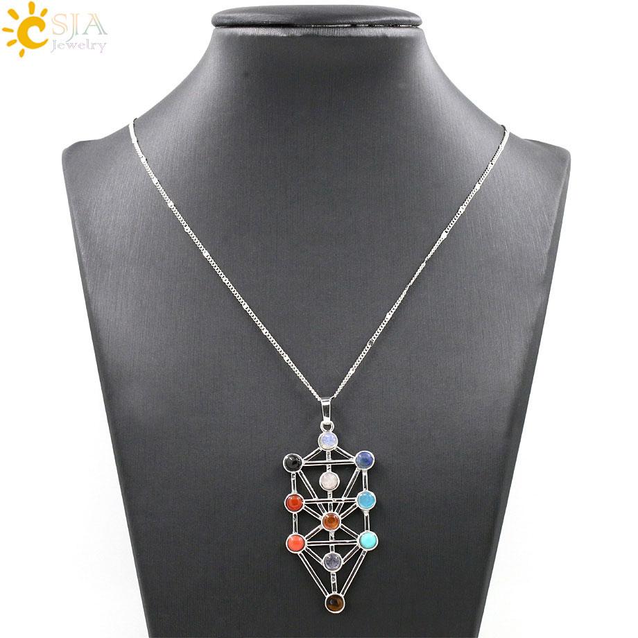 CSJA 2016 Simbol Amulet 7 Chakra Pyramid Healing Point Dowsing 11 - Bizhuteri të modës - Foto 2