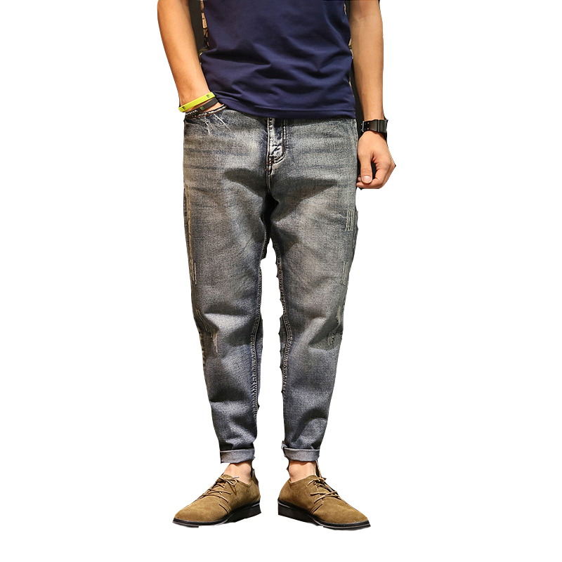 Men Jeans Autumn Spring Casual Harem Pants Fashion Brand Full Length Slim Fit High Quality Men Elastic Jeans Pants New Style 50 52 big size fashion casual male denim pants biker jean hot sale trousers cotton classic straight jeans for man
