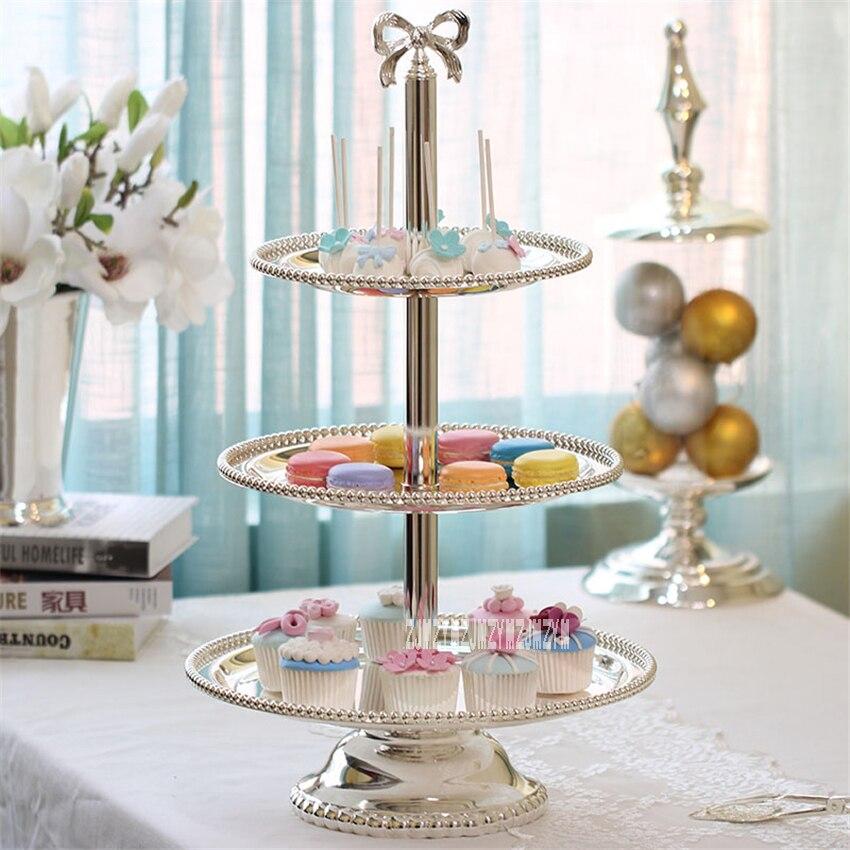 Plateau à Dessert 2/3 couches de haute qualité plateau à gâteau rond en métal plaqué argent plateau à Cupcake décoration de fête de mariage présentoir à gâteau