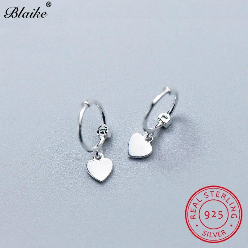 925 Sterling Silver Small Heart Hoop Earrings For Women Men Minimalist Ear Bone Earrings Female Male Daily Piercing Fine Jewelry