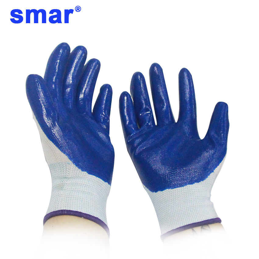 Smar Woman Garden Gloves Non-Slip Housework Cleaning Breathable Gloves Blue White Cover 1 Pair