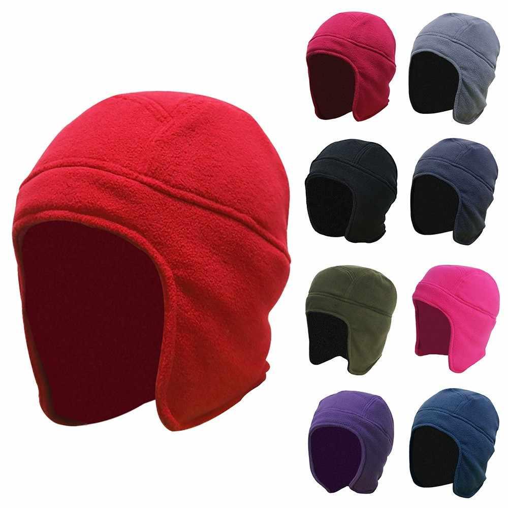 Mens Women Winter Outdoor Solid Color Fleece Earflap Hat Caps Ears Warm Hat  Winter Ski Russian ca423f2a8bae