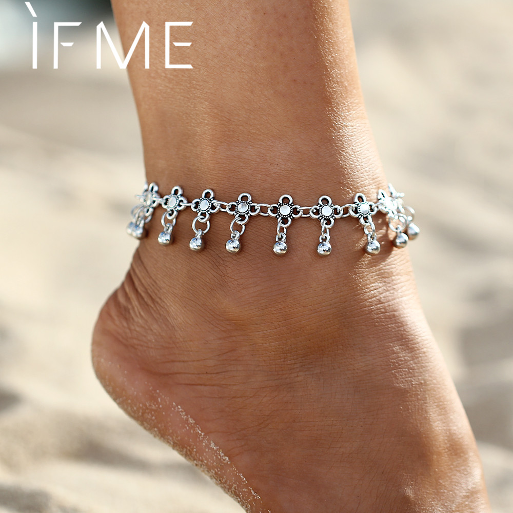 Boho Bohemia Alloy Chain Link Anklet Flower Pendant Summer Beach Ankles Foot Bracelet New Fashion Foot Jewelry For Women PD26