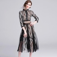 JKKFZY 2019 Spring Newest Black Long Party Dress Women Sexy Mesh Embroidery Elegant Fashion Dress Full Clothes Vestidso